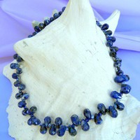 Sodalite Pear Shape Blue Sodalite Necklace, Sterling Silver, Handmade