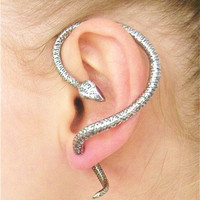 Edgy Goth Venomous &#x27;Serpent of Eden&#x27; Snake Ear Cuff