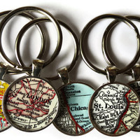 Custom keychains, personalized map keychain, Unique pendant map key chain charms for Christmas gift and stocking stuffer