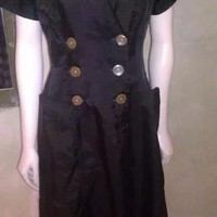 Vintage 50&#x27;s Penney&#x27;s Black Nylon Wash &amp; Wear Nurse Waitress Uniform Dress M/L