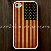 iPhone 4 Case, iphone 4s case, Vintage Flags iphone 4 case, America United States Flags iphone 4 case, graphic iphone 4 case