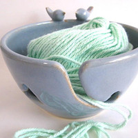 Bluebirds Yarn bowl, Knitting bowl, Blue Yarn holder, sculptured lovebirds handmade ceramic art  pottery