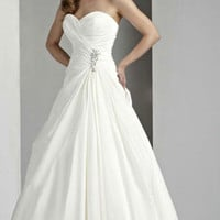 Lace-up Pick-up Taffeta Wedding Dress