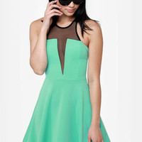 Skip to the Plunge-line Mint Green Dress