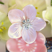 Blush pink cherry blossom shell adjustable ring