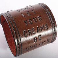 $46.00 Custom Brown Leather Quote Cuff   Include your by TheLeatherWrist