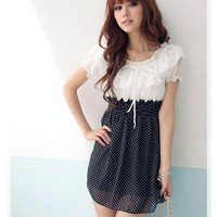 Refreshing Round Neckline Frills White Chiffon Dress For Women