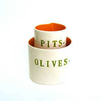 $49.00 olives and pits    hand built porcelain containers   by clayswan