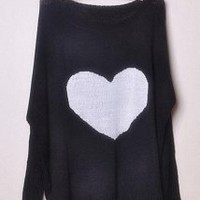 Sweet Heart Black Sweater - Designer Shoes|Bqueenshoes.com