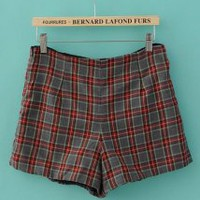 High Waisted Plaid Suit Shorts Red and Gray - Designer Shoes|Bqueenshoes.com