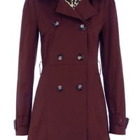 Burgundy double breasted mac - Brands at DP - Jackets - Clothing - Dorothy Perkins