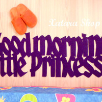 "Bedroom rug personalized with message ""Good morning little princess""."