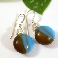 Chocolate Brown and Turquoise Blue Two Tone Round Dangle Earrings