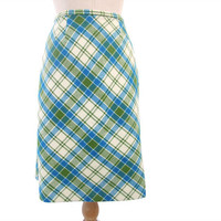Vintage 60s Skirt Wool A Line Diagonal Plaid Green Blue Small XS