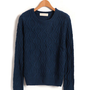 Dark Blue Knit Sweater with Diamond Check Detail