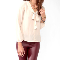 Textured Tie Collar Blouse
