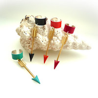 1 Raw Brass Arrow Ear Cuff With Different Colors  - Choose one ( a15 )