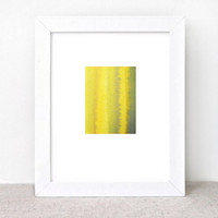 original abstract watercolor painting - yellow brown grey mustard