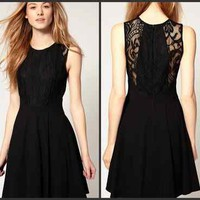 New Fashion Hepburn Classic Slim Little black dress Lace Noble Sleeveless Dress
