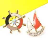 Nautical Wheel Helm Boat Stud Earrings in Black White and Orange