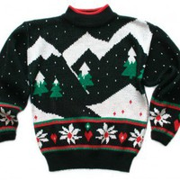 Shop Now! Ugly Sweaters: Vintage 80s Mountain Range Tacky Acrylic Ugly Christmas Sweater Women&#x27;s Size Small/XS (S/XS) $25 - The Ugly Sweater Shop