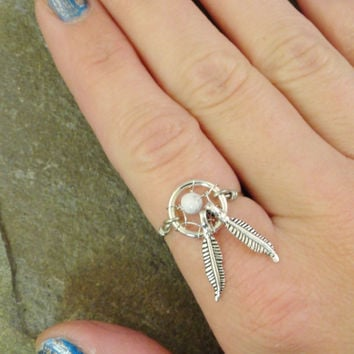 White Turquoise Dream Catcher Ring Wire Wrapped