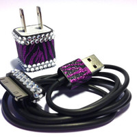 Purple Zebra Glitter & Rhinestone iPhone USB Charger and Cord