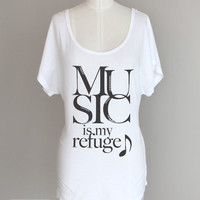 Music Is My Refuge Dolman Sleeve Eco Tunic