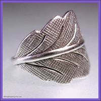 Detailed leaf silver ear cuff earring jewelry - cartilage wrap non pierced  Earcuff  092412