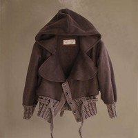 Womens jacket hoody brown crop outerwear by tratgirl