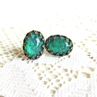 Lord of the Rings Earrings Emerald Green Earrings Sea Green Opal Like Shimmer Teal - Ancient Atlantis