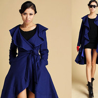 blue wool Ruffled Cap coat (344)