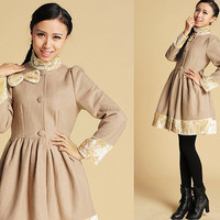 Cute Bow camel wool coat (378)