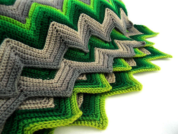 vintage afghan Missoni chevron stripes by FlumeStreet on Etsy
