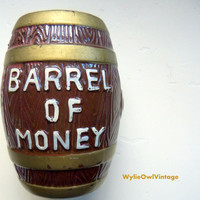 Vintage Barrel of Money Bank 1960s
