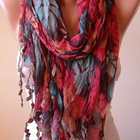 New Scarf - Gift -  Colorful Linen Scarf  with Trim Edge