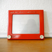 Vintage Etch A Sketch Red by nellsvintagehouse on Etsy