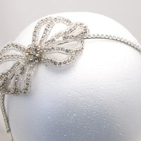 wedding hair, rhinestone bow tiara, bridal head piece