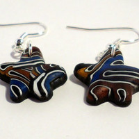 Polymer clay dangle earrings brain cane flower shaped