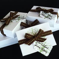 Tree of Life Gift Box Custom Hand Stamped For One Item Gift For Her Christmas Stocking Stuffer Brown Green Fall Earthy Unique Gift Wrapping