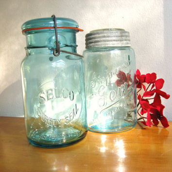 Antique Blue Selco Surety Seal and Improved Gem Canning Jars, Vintage Lidded Canning Jars, 1 quart