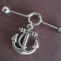 Chunky Anchor Industral Piercing Bar- 14 Gauge Surgical Steel Barbell