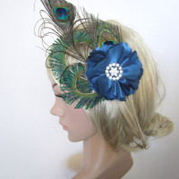 Burlesque 1920s inspired peacock Feather Fascinator hair clip