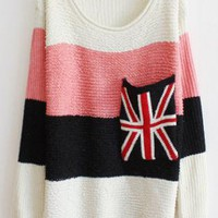 Sweet Striped Sweater with Plaid Pocket Pink  S005222