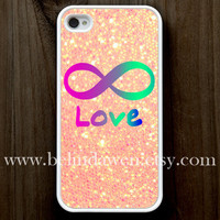 iPhone 4 Case, iphone 4s case, Forever Love iphone 4 case, infinity iphone 4 case, sparkle iphone 4case