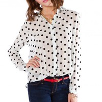 On the Dot Blouse in White - ShopSosie.com