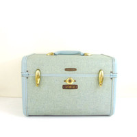 Vintage Train Case, Light Blue Luggage, Samsonite, Circa 1960s