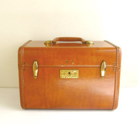 Vintage Train Case, Brown Luggage, Samsonite, 1940s, 50s