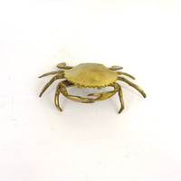 Brass Crab Figurine, Ashtray, or Trinket Box, Home Decor