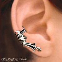 Roman silver ear cuff earring jewelry - Right non pierced earcuff for men and women  082212